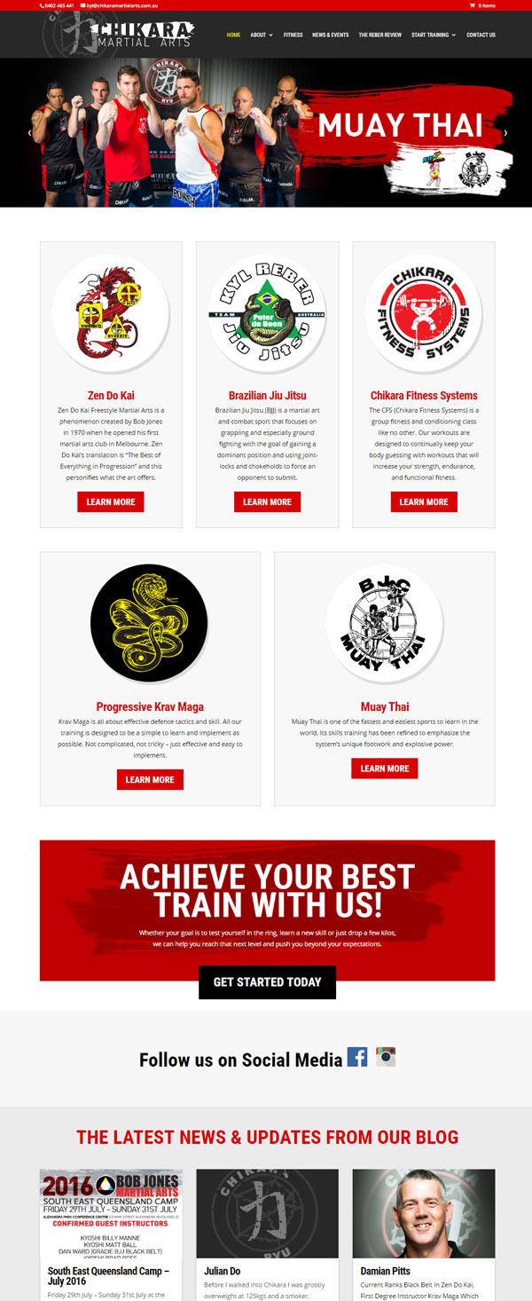 Chikara Martial Arts Landing Page